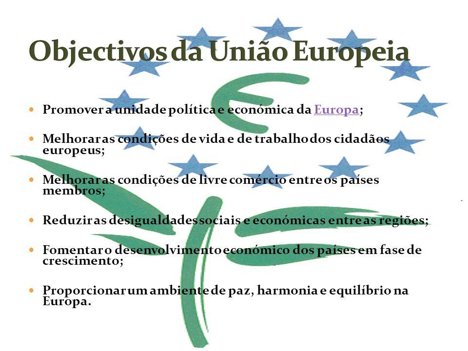 Promover a unidade política e económica da Europa;Europa Melhorar as condições de vida e de trabalho dos cidadãos europeus; Melhorar as condições de l