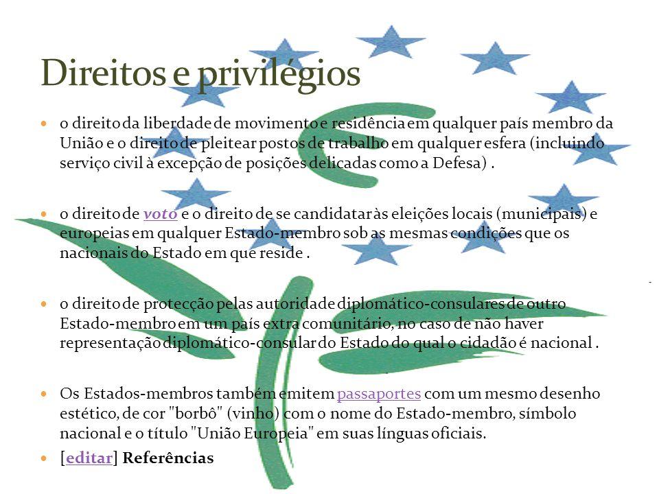 o direito da liberdade de movimento e residência em qualquer país membro da União e o direito de pleitear postos de trabalho em qualquer esfera (inclu