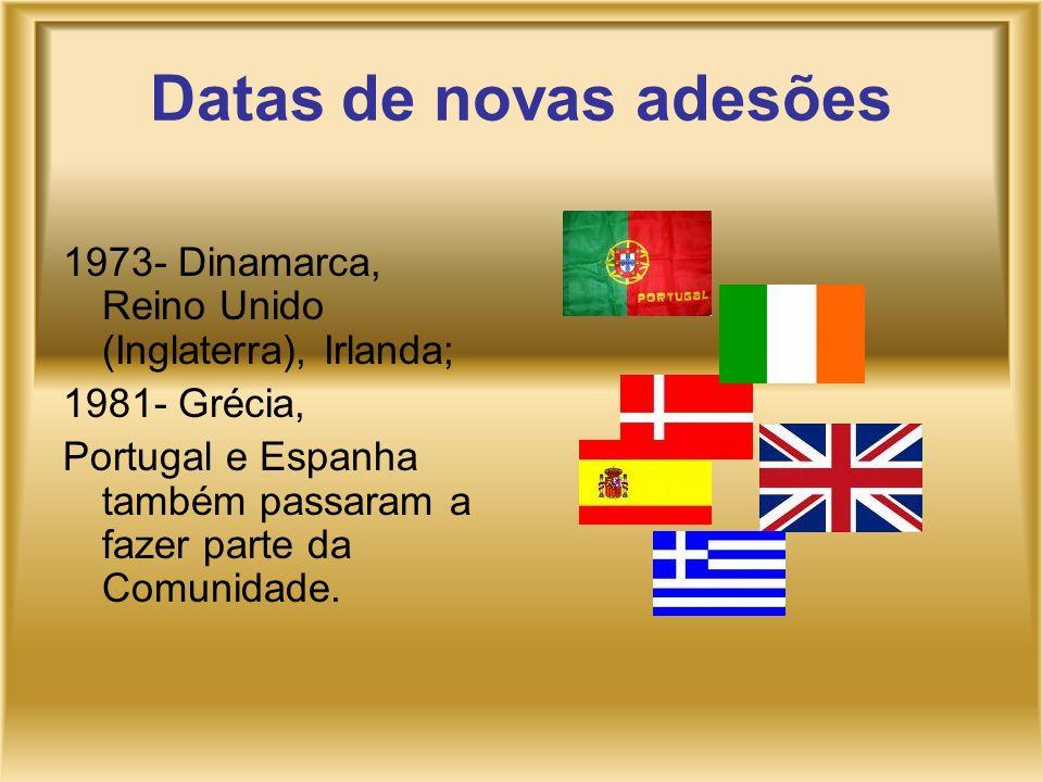 Datas de novas adesões 1973- Dinamarca, Reino Unido (Inglaterra), Irlanda; 1981- Grécia, Portugal e Espanha também passaram a fazer parte da Comunidad