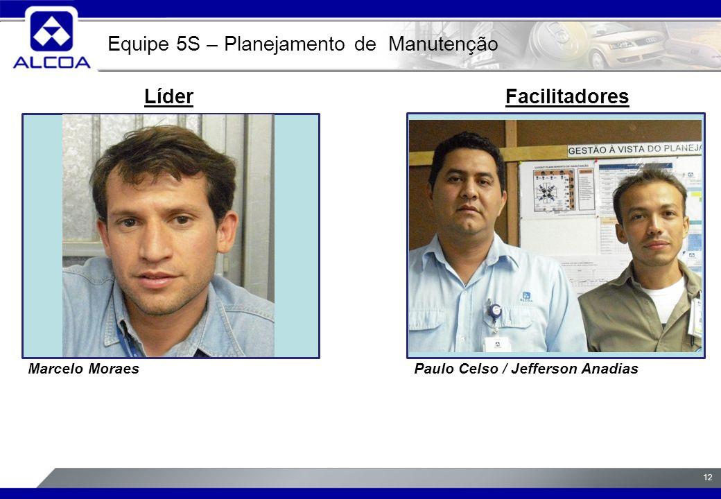 12 LíderFacilitadores Marcelo MoraesPaulo Celso / Jefferson Anadias Equipe 5S – Planejamento de Manutenção foto