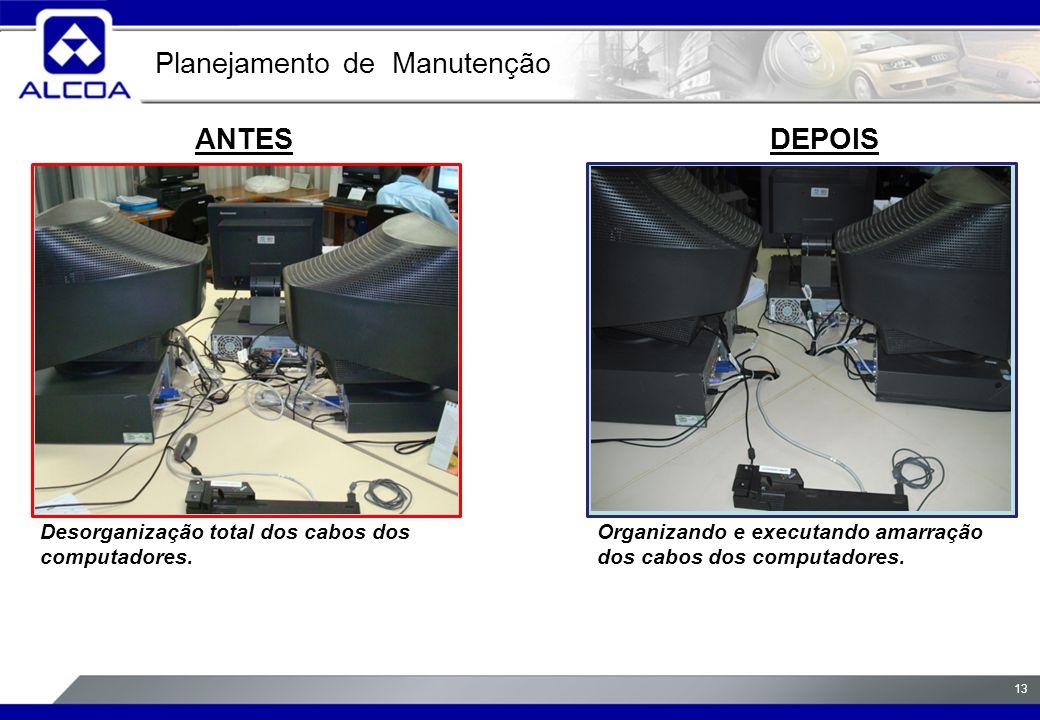 13 ANTESDEPOIS Desorganização total dos cabos dos computadores.