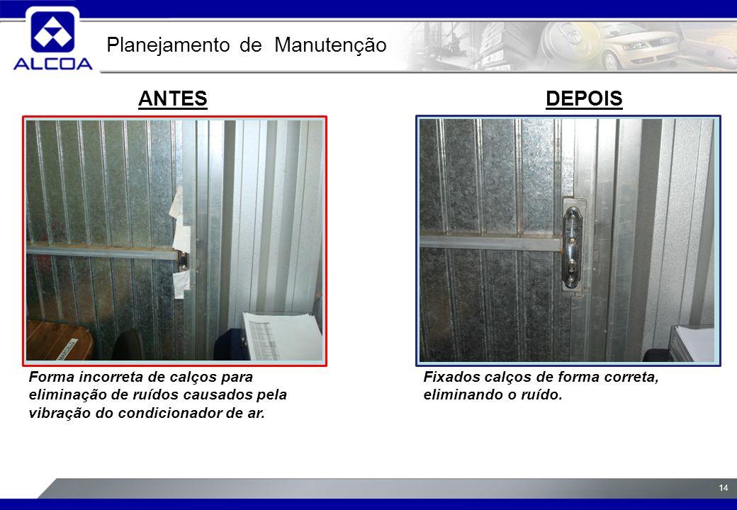 14 ANTESDEPOIS Forma incorreta de calços para eliminação de ruídos causados pela vibração do condicionador de ar.