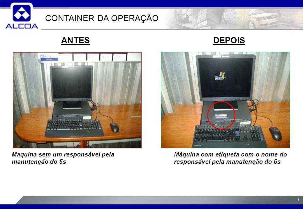 7 ANTESDEPOIS Maquina sem um responsável pela manutenção do 5s Máquina com etiqueta com o nome do responsável pela manutenção do 5s CONTAINER DA OPERAÇÃO