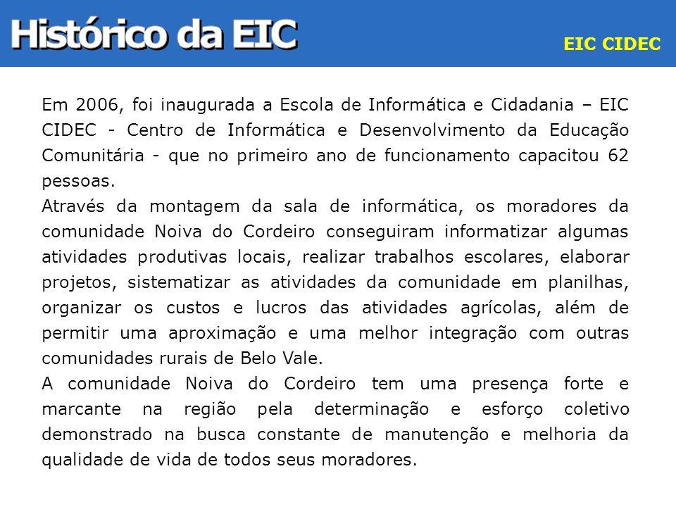 Em 2006, foi inaugurada a Escola de Informática e Cidadania – EIC CIDEC - Centro de Informática e Desenvolvimento da Educação Comunitária - que no pri