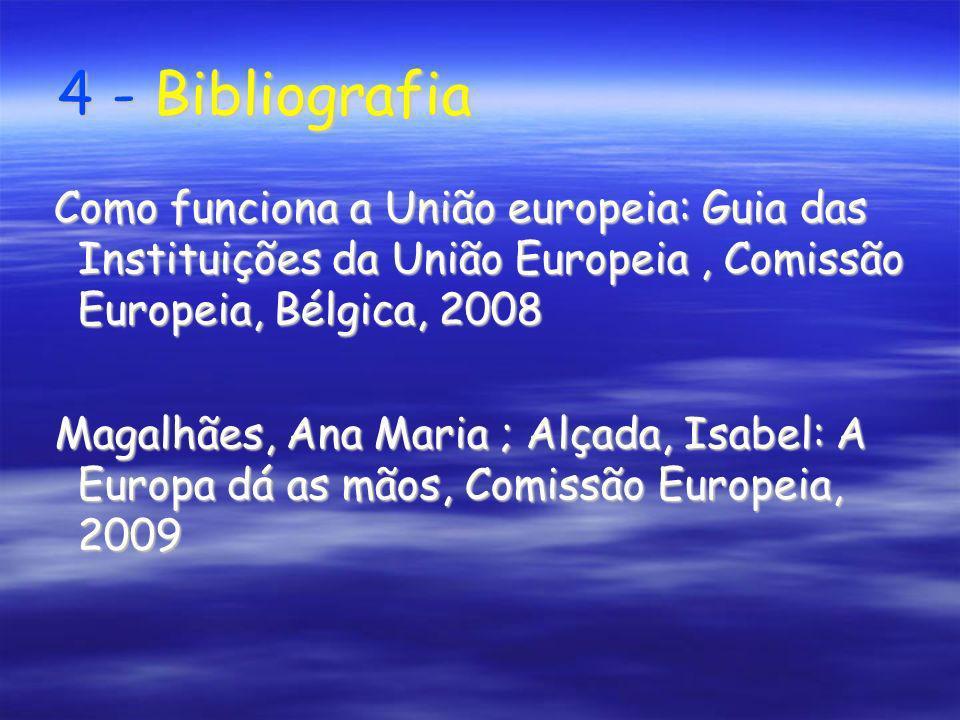 4 - Bibliografia 4 - Bibliografia Como funciona a União europeia: Guia das Instituições da União Europeia, Comissão Europeia, Bélgica, 2008 Como funci