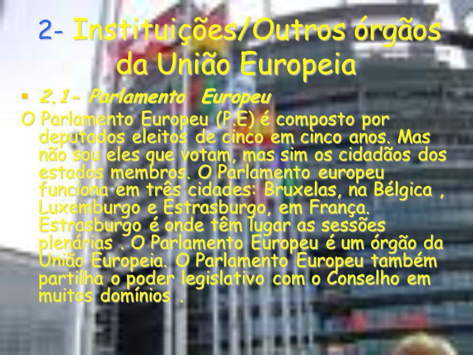 2- Instituições/Outros órgãos da União Europeia 2- Instituições/Outros órgãos da União Europeia 2.1- Parlamento Europeu 2.1- Parlamento Europeu O Parl