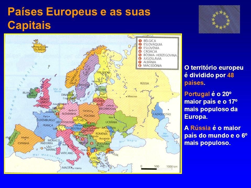 Países Europeus e as suas Capitais O território europeu é dividido por 48 países. Portugal é o 20º maior país e o 17º mais populoso da Europa. A Rússi