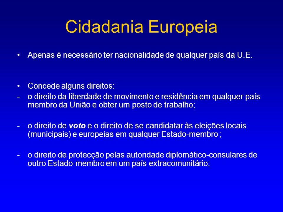 Cidadania Europeia Apenas é necessário ter nacionalidade de qualquer país da U.E. Concede alguns direitos: -o direito da liberdade de movimento e resi
