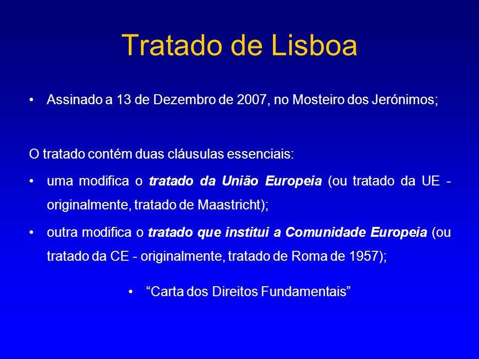 Tratado de Lisboa Assinado a 13 de Dezembro de 2007, no Mosteiro dos Jerónimos; O tratado contém duas cláusulas essenciais: uma modifica o tratado da