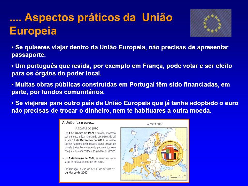 .... Aspectos práticos da União Europeia Se quiseres viajar dentro da União Europeia, não precisas de apresentar passaporte. Um português que resida,