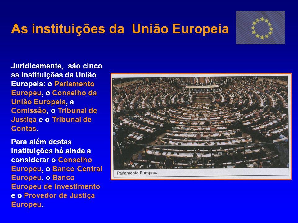 As instituições da União Europeia Juridicamente, são cinco as instituições da União Europeia: o Parlamento Europeu, o Conselho da União Europeia, a Co