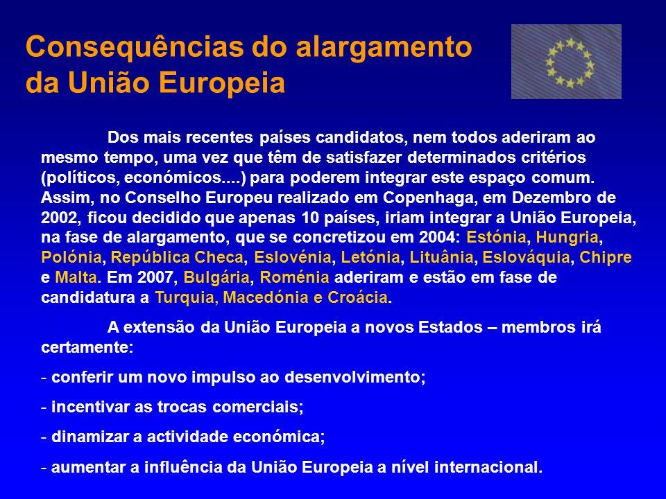 Consequências do alargamento da União Europeia Dos mais recentes países candidatos, nem todos aderiram ao mesmo tempo, uma vez que têm de satisfazer d