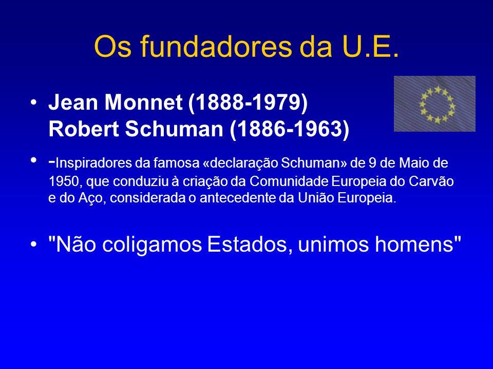 Os fundadores da U.E. Jean Monnet (1888-1979) Robert Schuman (1886-1963) - Inspiradores da famosa «declaração Schuman» de 9 de Maio de 1950, que condu
