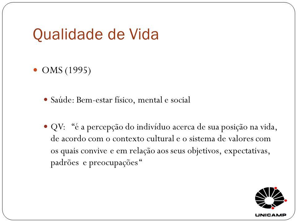 Qualidade de Vida OMS (1995) Saúde: Bem-estar físico, mental e social QV: é a percepção do indivíduo acerca de sua posição na vida, de acordo com o co
