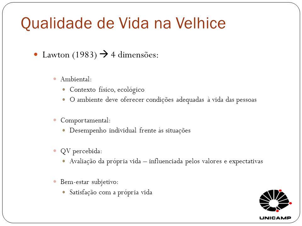 Qualidade de Vida na Velhice Lawton (1983) 4 dimensões: Ambiental: Contexto físico, ecológico O ambiente deve oferecer condições adequadas à vida das