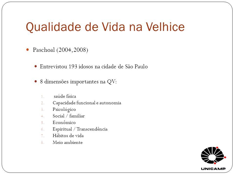 Qualidade de Vida na Velhice Paschoal (2004,2008) Entrevistou 193 idosos na cidade de São Paulo 8 dimensões importantes na QV: 1. saúde física 2. Capa