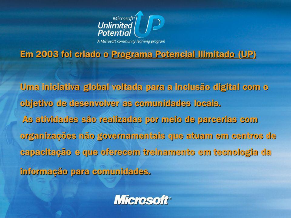 Em 2003 foi criado o Programa Potencial Ilimitado (UP) Uma iniciativa global voltada para a inclusão digital com o objetivo de desenvolver as comunidades locais.