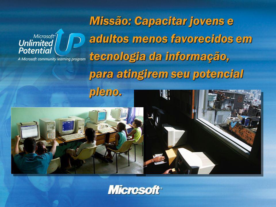 Missão: Capacitar jovens e adultos menos favorecidos em tecnologia da informação, para atingirem seu potencial pleno.