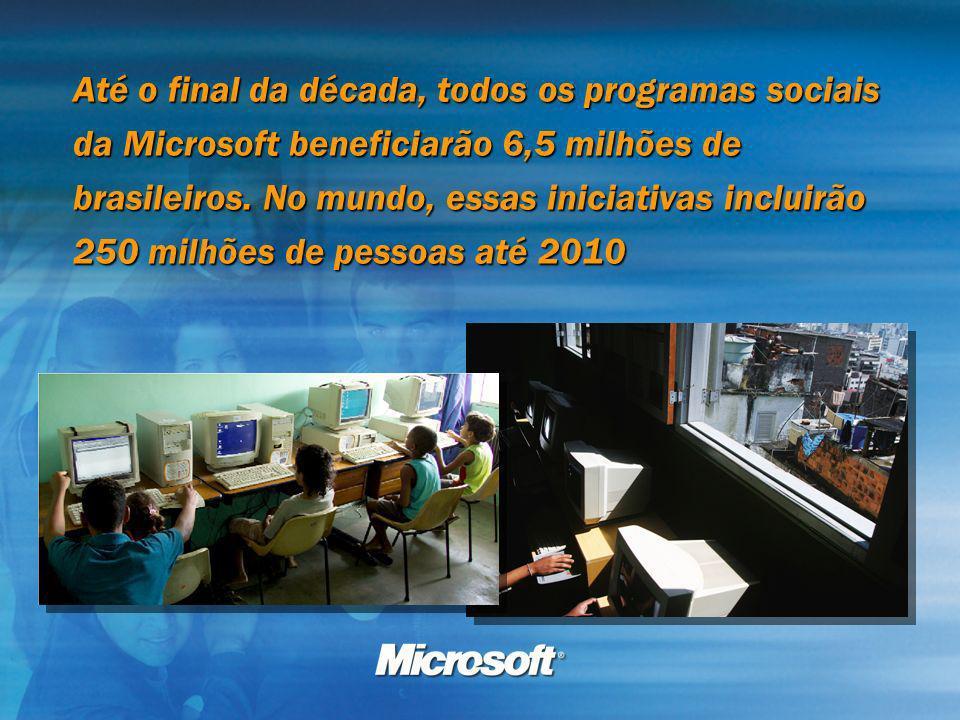 Até o final da década, todos os programas sociais da Microsoft beneficiarão 6,5 milhões de brasileiros.