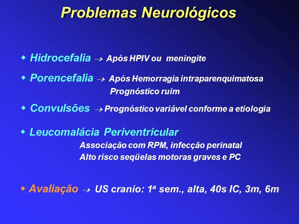 Hidrocefalia Após HPIV ou meningite Leucomalácia Periventricular Associação com RPM, infecção perinatal Alto risco seqüelas motoras graves e PC Convul