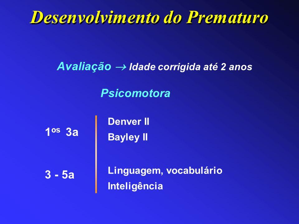 Avaliação Idade corrigida até 2 anos Psicomotora Denver II Bayley II 1 os 3a 3 - 5a Linguagem, vocabulário Inteligência Desenvolvimento do Prematuro