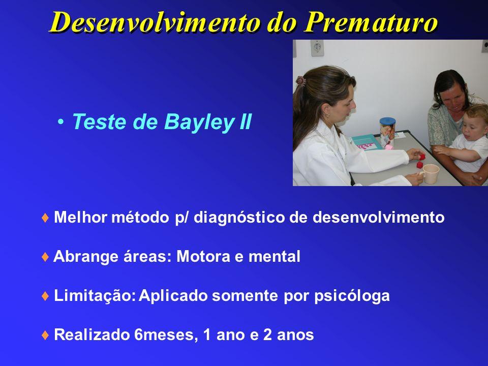 Teste de Bayley II Melhor método p/ diagnóstico de desenvolvimento Abrange áreas: Motora e mental Limitação: Aplicado somente por psicóloga Realizado