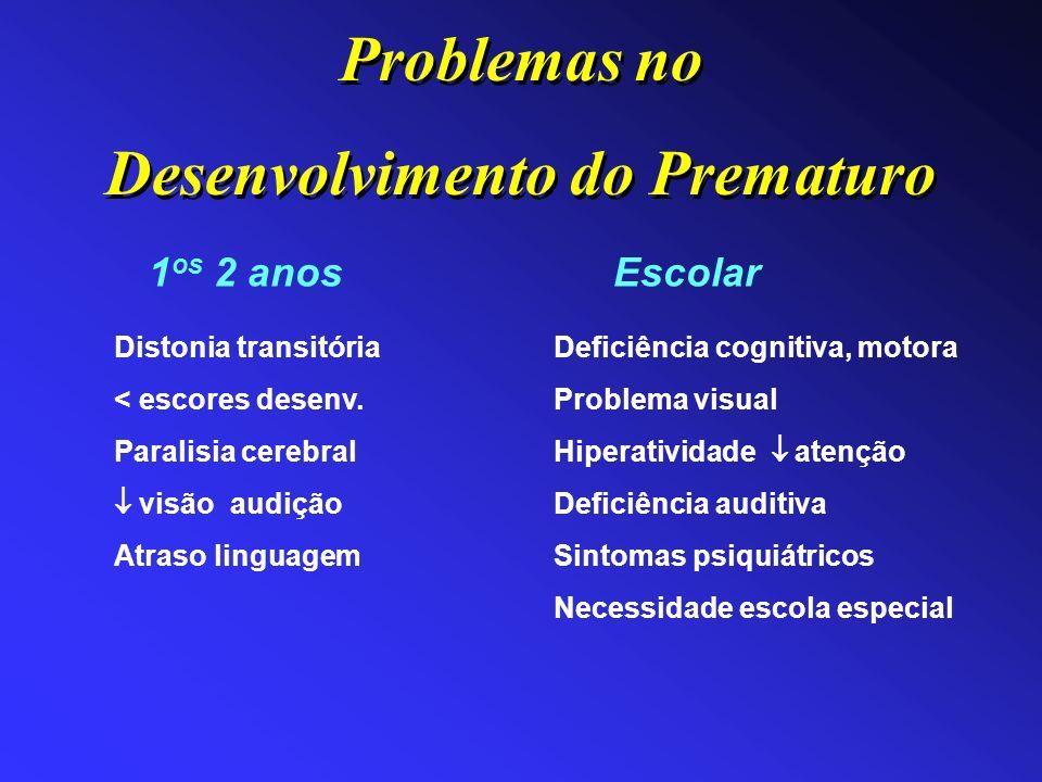 Distonia transitória < escores desenv. Paralisia cerebral visão audição Atraso linguagem 1 os 2 anos Deficiência cognitiva, motora Problema visual Hip