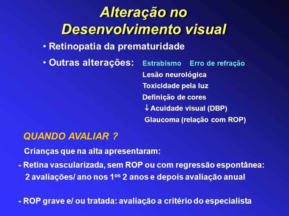 Crianças que na alta apresentaram: - Retina vascularizada, sem ROP ou com regressão espontânea: 2 avaliações/ ano nos 1 os 2 anos e depois avaliação a