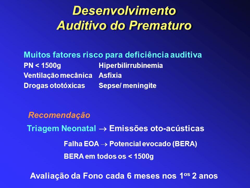 Triagem Neonatal Emissões oto-acústicas Avaliação da Fono cada 6 meses nos 1 os 2 anos Falha EOA Potencial evocado (BERA) BERA em todos os < 1500g Mui
