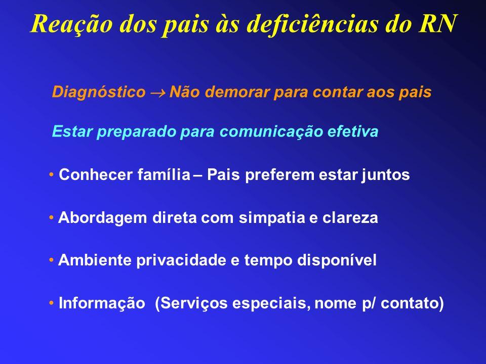 Reação dos pais às deficiências do RN Estar preparado para comunicação efetiva Conhecer família – Pais preferem estar juntos Abordagem direta com simp