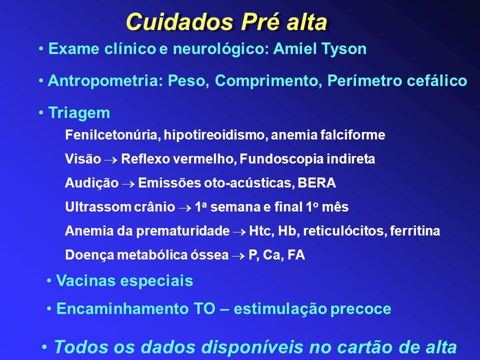 Crianças que na alta apresentaram: - Retina vascularizada, sem ROP ou com regressão espontânea: 2 avaliações/ ano nos 1 os 2 anos e depois avaliação anual - ROP grave e/ ou tratada: avaliação a critério do especialista Retinopatia da prematuridade Outras alterações: Estrabismo Erro de refração Lesão neurológica Toxicidade pela luz Definição de cores Acuidade visual (DBP) Glaucoma (relação com ROP) QUANDO AVALIAR .