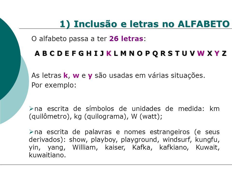 1) Inclusão e letras no ALFABETO O alfabeto passa a ter 26 letras: A B C D E F G H I J K L M N O P Q R S T U V W X Y Z As letras k, w e y são usadas e