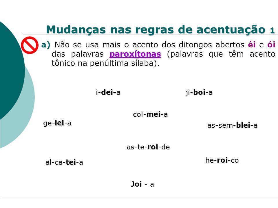 Mudanças nas regras de acentuação 1 a) paroxítonas a) Não se usa mais o acento dos ditongos abertos éi e ói das palavras paroxítonas (palavras que têm