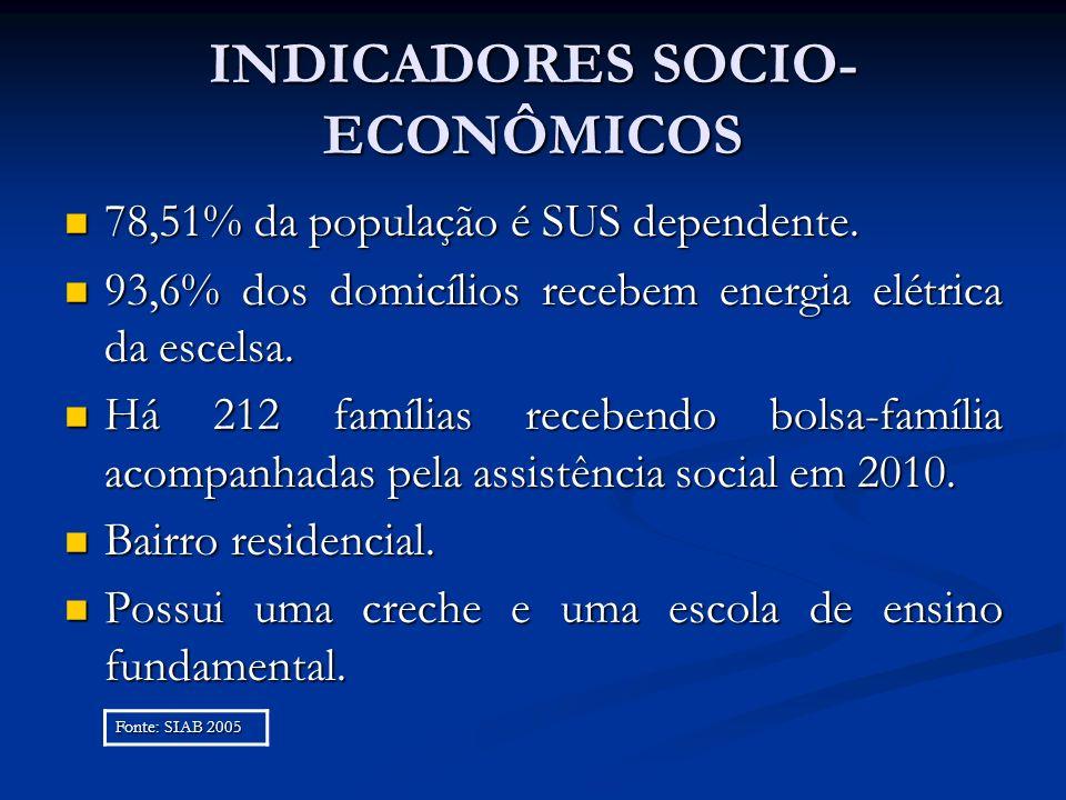 INDICADORES SOCIO- ECONÔMICOS 78,51% da população é SUS dependente. 78,51% da população é SUS dependente. 93,6% dos domicílios recebem energia elétric