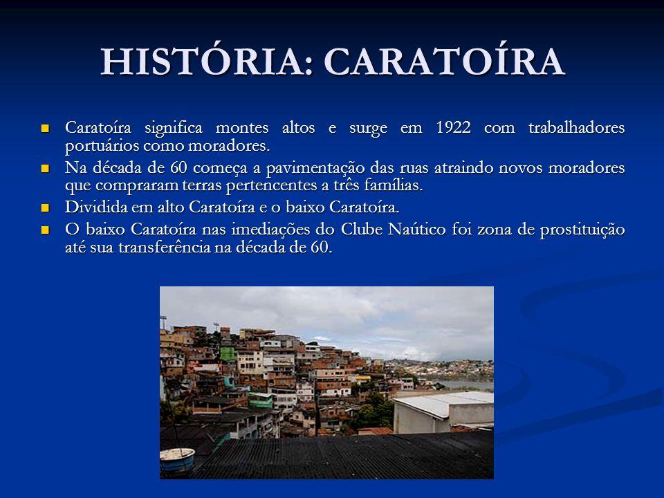 HISTÓRIA: CARATOÍRA Caratoíra significa montes altos e surge em 1922 com trabalhadores portuários como moradores. Caratoíra significa montes altos e s
