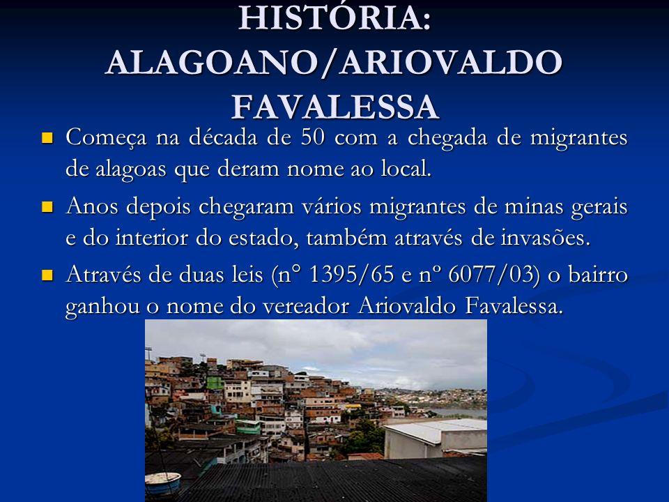 HISTÓRIA: ALAGOANO/ARIOVALDO FAVALESSA Começa na década de 50 com a chegada de migrantes de alagoas que deram nome ao local. Começa na década de 50 co