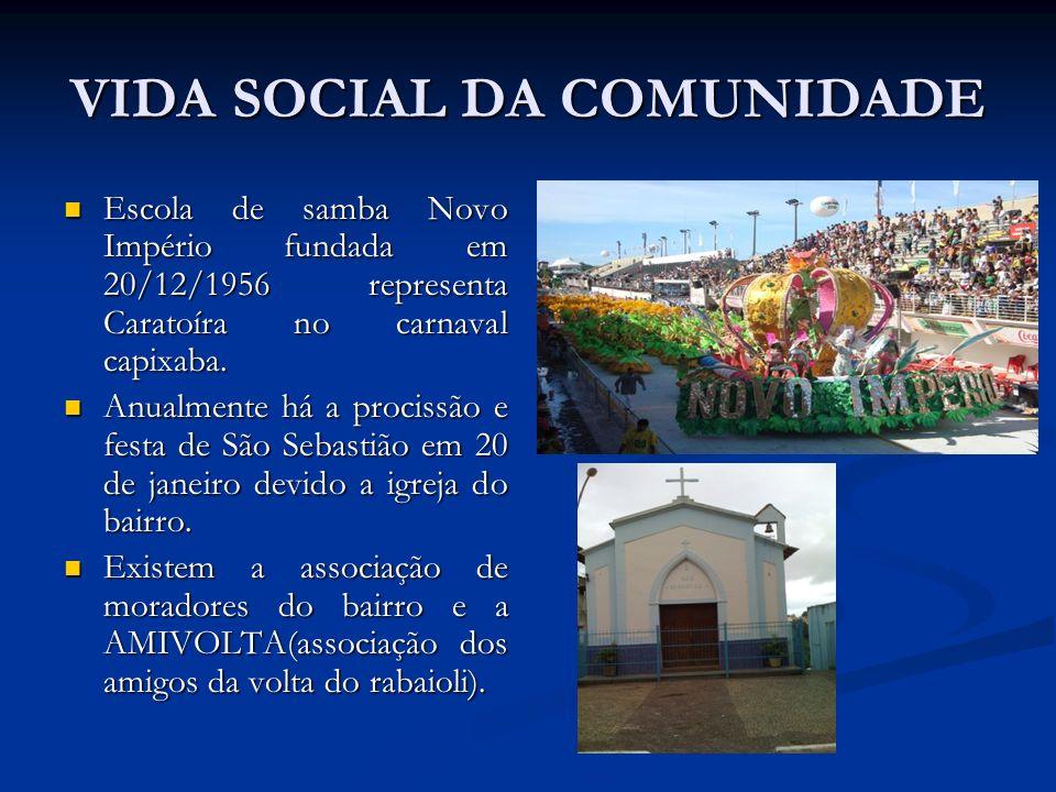 VIDA SOCIAL DA COMUNIDADE Escola de samba Novo Império fundada em 20/12/1956 representa Caratoíra no carnaval capixaba. Escola de samba Novo Império f