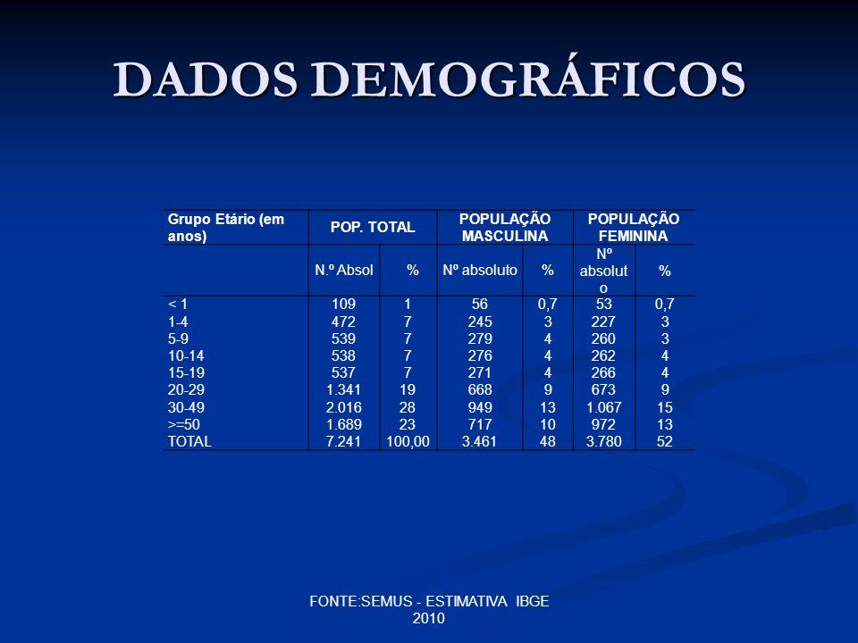 DADOS DEMOGRÁFICOS Grupo Etário (em anos) POP. TOTAL POPULAÇÃO MASCULINA POPULAÇÃO FEMININA N.º Absol%Nº absoluto% % < 1 1-4 5-9 10-14 15-19 20-29 30-