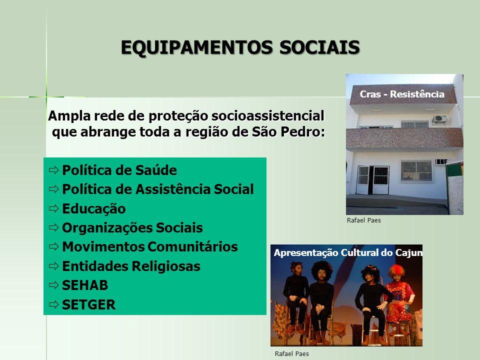 EQUIPAMENTOS SOCIAIS Ampla rede de proteção socioassistencial que abrange toda a região de São Pedro: que abrange toda a região de São Pedro: Política