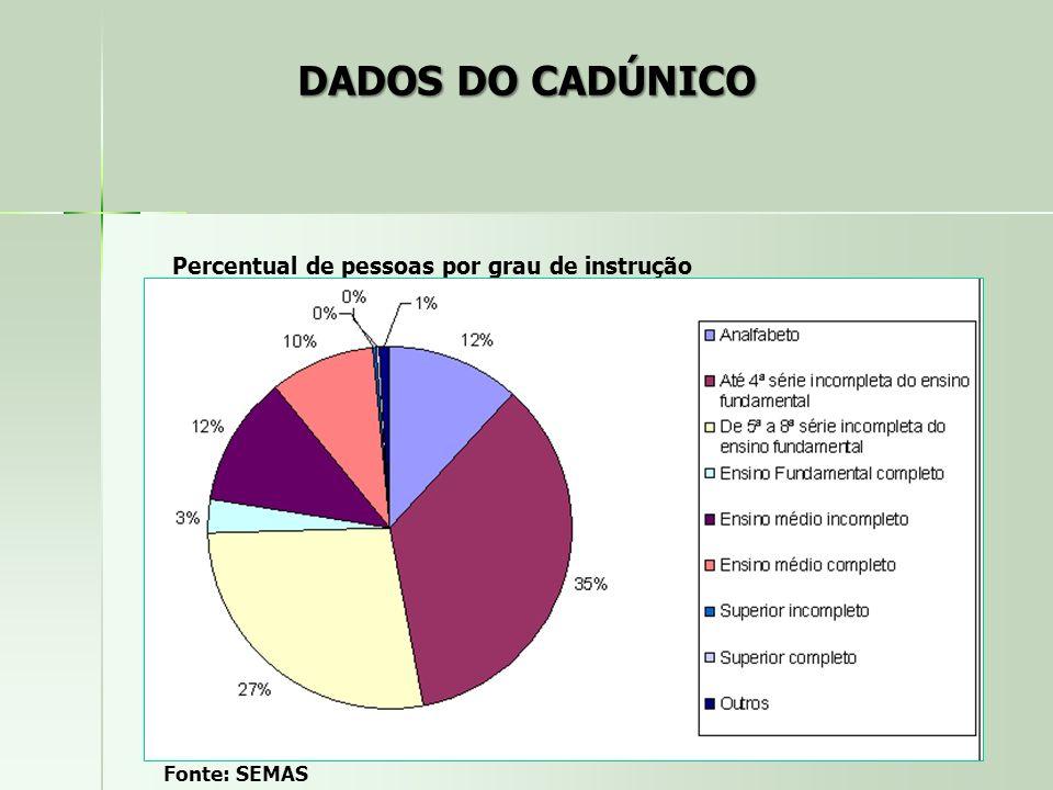 Percentual de pessoas por grau de instrução Fonte: SEMAS DADOS DO CADÚNICO
