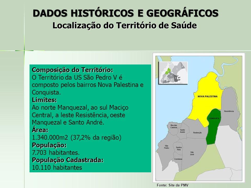 Composição do Território: O Território da US São Pedro V é composto pelos bairros Nova Palestina e Conquista.Limites: Ao norte Manquezal, ao sul Maciç