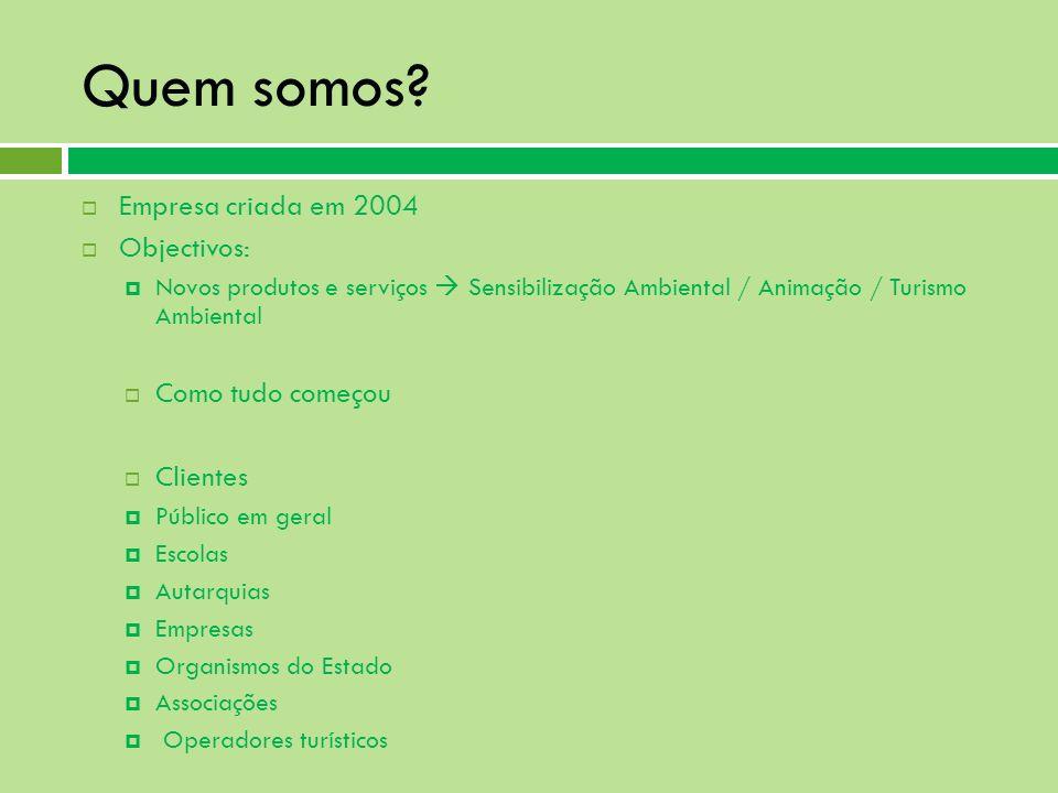 Quem somos? Empresa criada em 2004 Objectivos: Novos produtos e serviços Sensibilização Ambiental / Animação / Turismo Ambiental Como tudo começou Cli