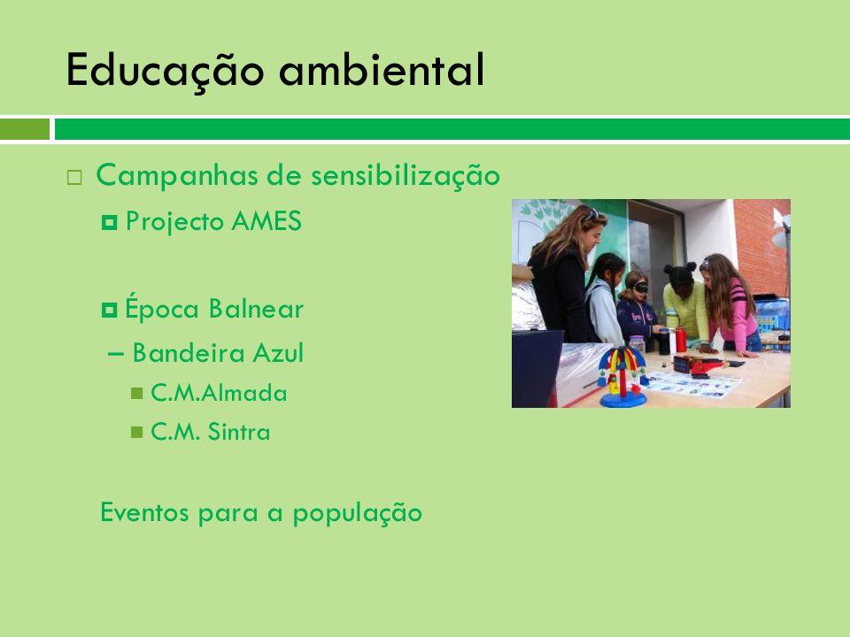 Educação ambiental Campanhas de sensibilização Projecto AMES Época Balnear – Bandeira Azul C.M.Almada C.M. Sintra Eventos para a população