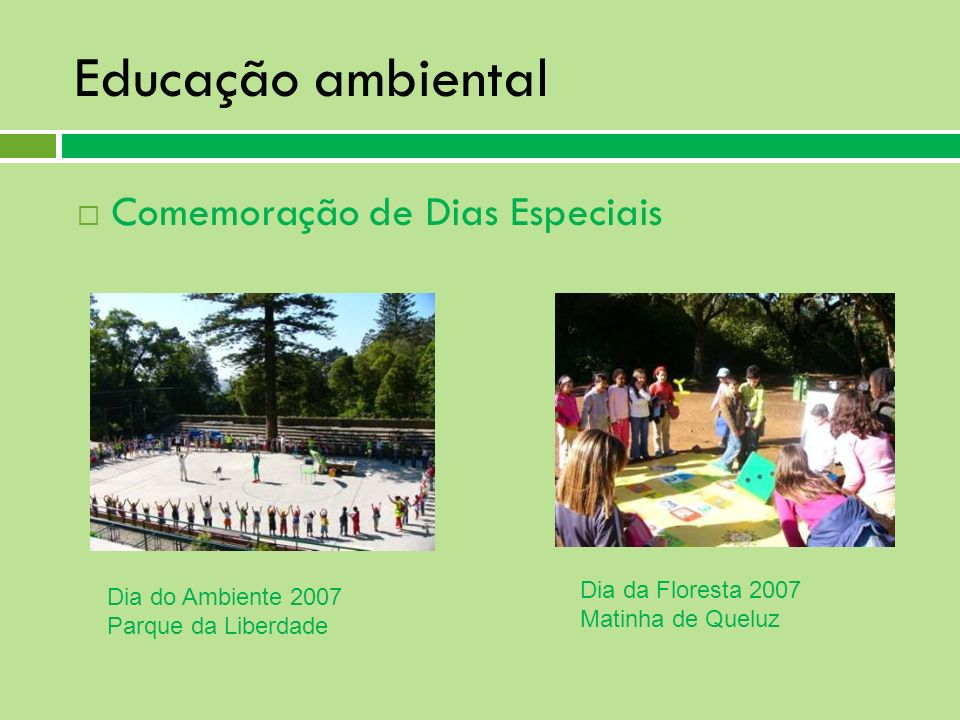 Educação ambiental Comemoração de Dias Especiais Dia da Floresta 2007 Matinha de Queluz Dia do Ambiente 2007 Parque da Liberdade