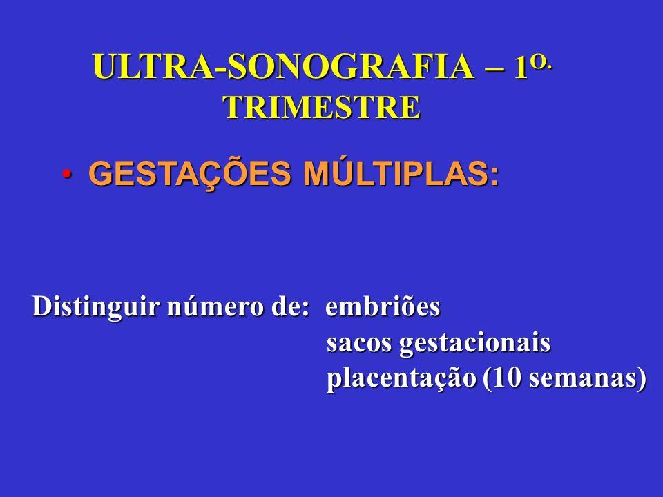 GESTAÇÕES MÚLTIPLAS:GESTAÇÕES MÚLTIPLAS: Distinguir número de: embriões sacos gestacionais sacos gestacionais placentação (10 semanas) placentação (10 semanas)