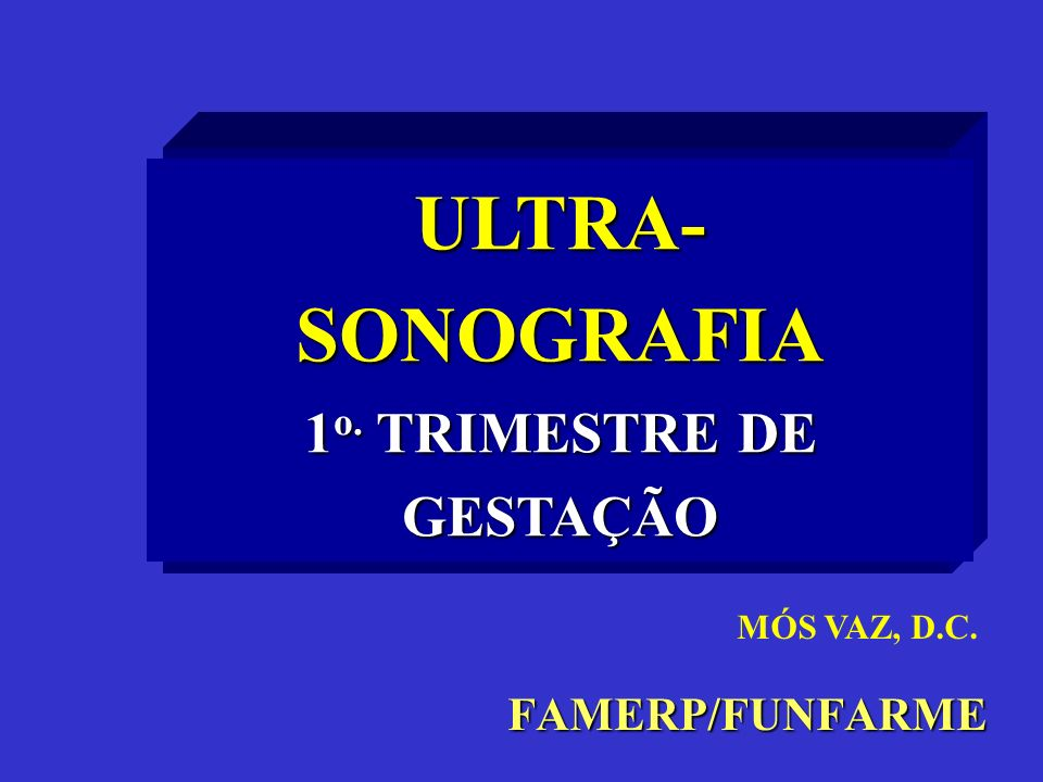 FAMERP/FUNFARME ULTRA- SONOGRAFIA 1 o. TRIMESTRE DE GESTAÇÃO MÓS VAZ, D.C.