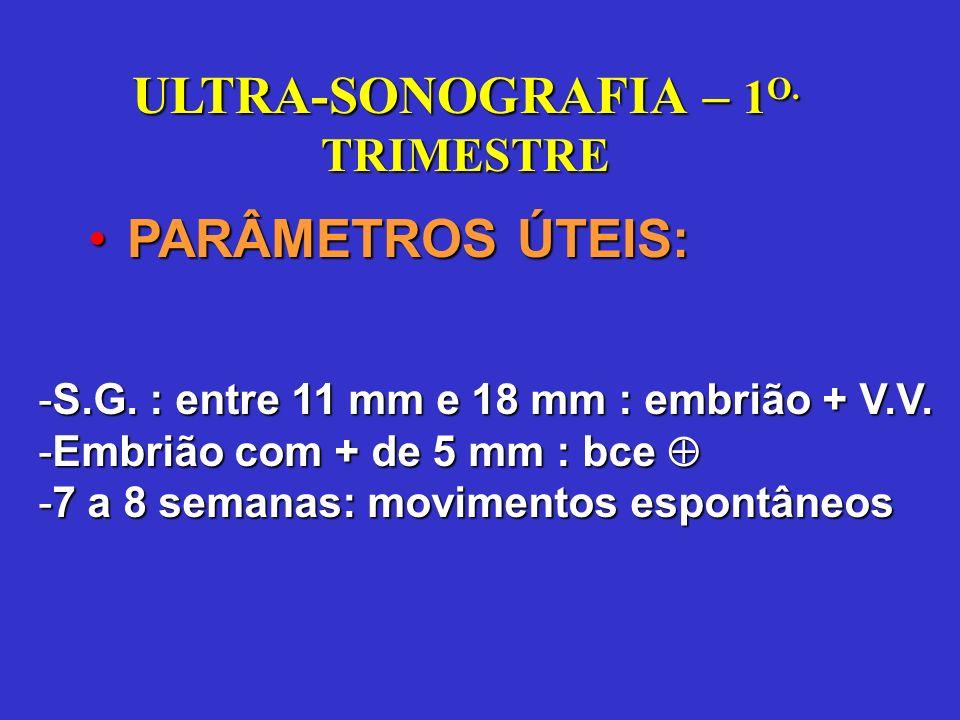 Ultra-som no Segundo Trimestre Época: entre 18 a 24 semanas Determinar a idade gestacional (erro de + ou - 10 dias) diâmetro biparietal circunferência cefálica comprimento do fêmur circunferência abdominal comprimento dos ossos longos: úmero e tíbia