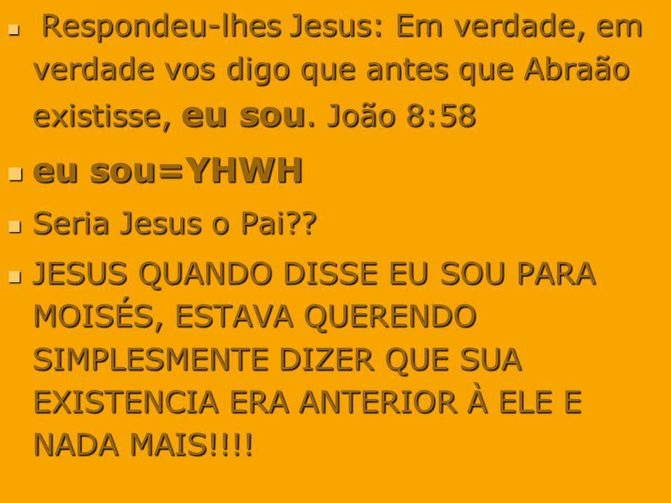 Respondeu-lhes Jesus: Em verdade, em verdade vos digo que antes que Abraão existisse, eu sou. João 8:58 Respondeu-lhes Jesus: Em verdade, em verdade v