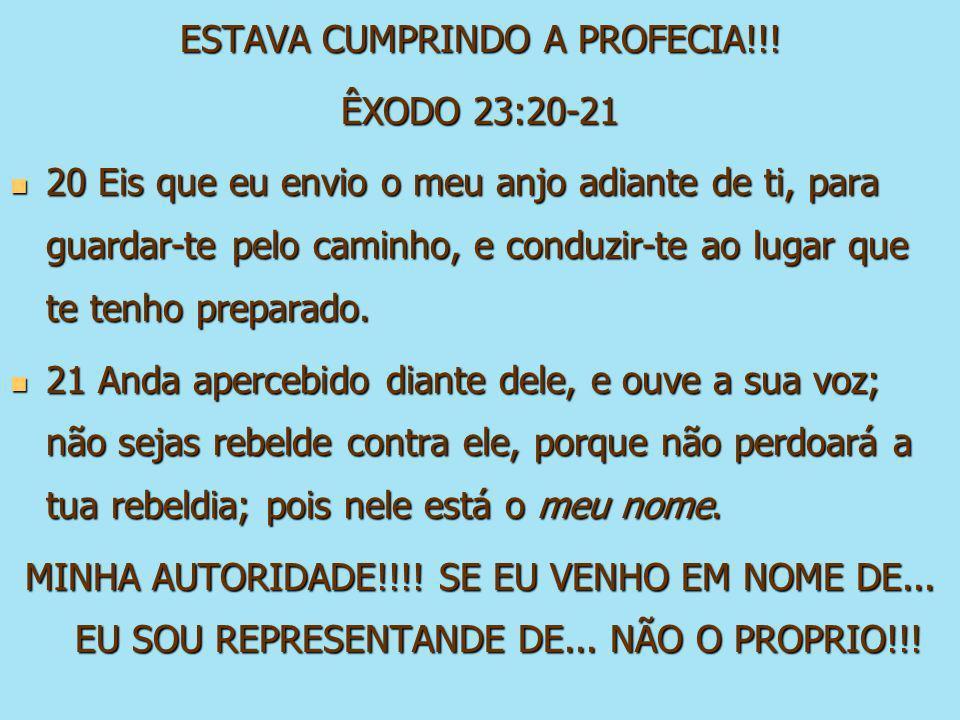 ESTAVA CUMPRINDO A PROFECIA!!! ÊXODO 23:20-21 20 Eis que eu envio o meu anjo adiante de ti, para guardar-te pelo caminho, e conduzir-te ao lugar que t
