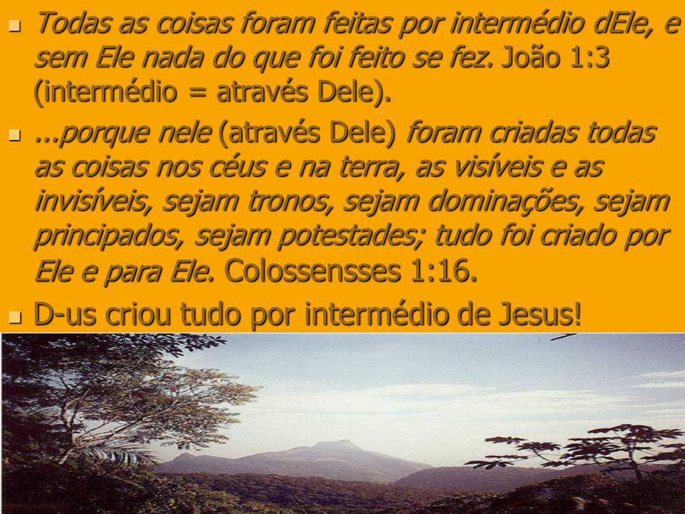 Todas as coisas foram feitas por intermédio dEle, e sem Ele nada do que foi feito se fez. João 1:3 (intermédio = através Dele). Todas as coisas foram